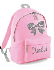 Personalised Kids Backpack -Name Silver Glitter BOW Girls School Bag Rucksack