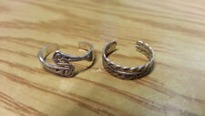 Toe Rings Ring 925Sterling*Size Adjustable*F233 Beautiful Two Solid Ropes Swirl