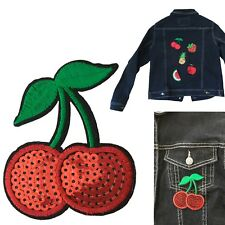 Sequin cherry iron on patch fruit pair pie pit juicy leaf heat iron-on patches