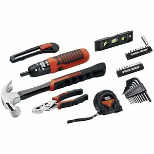 Black & Decker 38-piece Project Kit, Household Tool Set w/ 6V Screwdriver - New