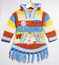 Pullover-Fransen Kleid blau beige gelb Gr. 68*74 Kapuze Tiere+Alpaka Sonne Peru