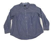 Women's TALBOTS Size 18W  Wrinkle Resistant Striped Button Down Shirt Blue