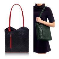 Ladies Italian Leather Handbag Black / Red Shoulder Bag Backpack Ostrich Effect