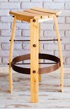 ASH BAR STOOL TALL BREAKFAST BAR RAW ASH SEAT - LARGE  MADE OF BARREL STAVES