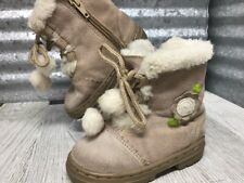 OshKosh Genuine Kids Leather Taupe Suede Faux Fur Ivory Zip Up Boots Size 5 C