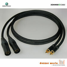 2x 1m Adapterkabel ALBEDO SCHWARZ XLR Cinch male Sommer Cable / High End