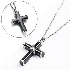 Black &Silver Cremation Urn Ashes Holder Stainless Steel Memorial Cross Necklace