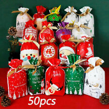 50 PCS Christmas Candy Bags Storage Sacks Reusable Drawstring Wrap Present Gift.