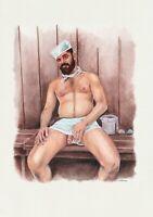 PRINT of Original Watercolor Painting Male Gay Sailor Cock homoerotic art