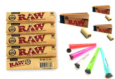 SMOKING RAW ROLLING SET 5 CLASSIC ROLLING PAPER & 5 TIGHT TUBES & 3 FILTER TIPS