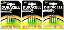 12 x Duracell AAA Rechargeable HR03 750 mAh Stay Charged Batteries 3 packs of 4