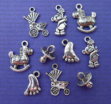10 MIXED BABY CHARMS 15mm SILVER TONE METAL JEWELLERY MAKING PENDANTS CRAFTS(J)