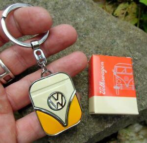 German Volkswagen Classic VW Bus SAMBA Transporter T1 Keychain Cream / Yellow