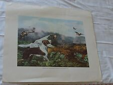 """Currier and Ives Hunting Scene Stone Print Yale Univ. Numbered Litho Repo 18x21"""""""