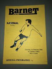 Barnet vs Arsenal 1986 Friendly Programme