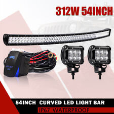 54inch 312W Curved LED Light Bar Spot Flood Combo 4WD Car Pickup ATV BOAT 55
