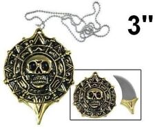 "3"" Fantasy Pirate Medallion Skull Necklace Knife Blade Brand New"
