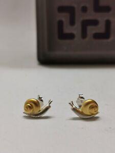 925 Silver Gold Wash Snail Stud Earrings