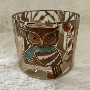 Bath & Body Works Fall Creatures 3-Wick Candle Holder/Sleeve, Owl-Squirrel