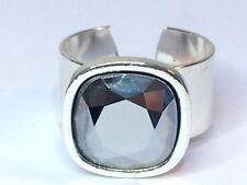 Swarovski Elements Cristal Plata Plateado Cromo De Anillo Ajustable 12mm Piedra