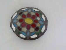Stained Glass & Metal JJ Peng Turtle Shell Shade For Lamp Flower Red Oval Part