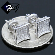 Icy Diamond Screw Back Stud Earring*E127 Men 925 Sterling Silver 7Mm Square