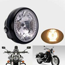 Super Bright Nuovo retro 7inch 55W LED moto nero cromato ABS anteriore LED faro anteriore lampada for Harley Cafe Racer Bobber Chopper personalizzato Color : Black