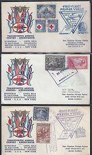 HONDURAS US 1943 SIX FIRST FLIGHT COVERS HONDURAS COSTA RICA EL SALVADOR NIGARAG