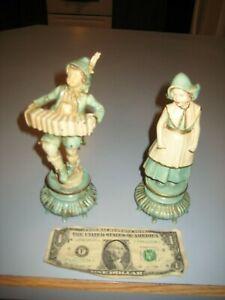 "Vintage CAST IRON DUTCH BOY Playing Accordian & GIRL 7 1/2"" Handpainted Figurine"