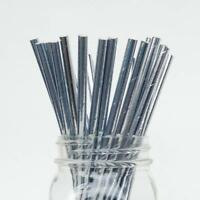 20  Silver Foil paper straws Eco friendly,biodegradable,wedding, party,cocktails