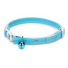 "Savvy Tabby Sparkle Paw Cat Pet Collar 3/8"" Adjustable 8-12 Inch Bluebird"