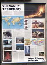 Vecchia CARTINA Poster per scuola 140 x 100 VULCANI E TERREMOTI
