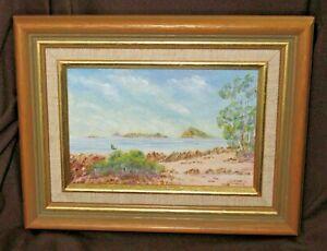 Framed Oil Painting Beach Scene Q/ld  Ivor Thomson Signed 1990 Listed Artist