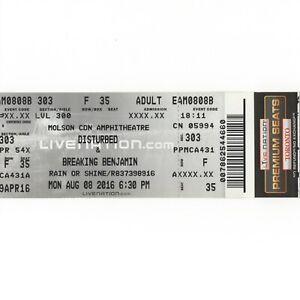 DISTURBED & BREAKING BENJAMIN Concert Ticket Stub TORONTO 8/8/16 IMMORTALIZED