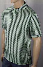 David Chu Lincs Green Navy Blue Striped Classic Fit Interlock Polo Shirt NWT