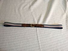 Vintage Surcingle Belt Stretchy Woven Fabric w/ Brown Leather MultiStripe Taiwan
