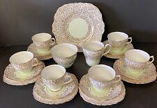 Colclough Pale Green and Gilt 21 Piece Tea Set