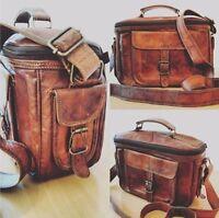 Men Genuine Leather Camera Bag Vintage Shoulder Bag for Canon Nikon SLR Camera