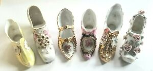LOT 6 VINTAGE PORCELAIN MINATURE BOOTS SHOES VICTORIAN GERMANY and OTHERS