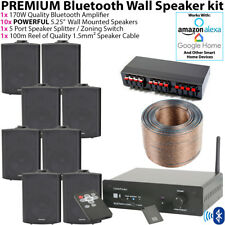 8x 90W Negro Montaje Pared Altavoz Sistema - Bluetooth Multi-Room Kit - Estéreo