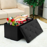 Folding Storage Ottoman Box Chest Seat Ottomans Bench Foot Rest Stool PU Leather