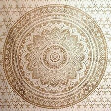 Ethnic Throw Wall Hanging Hippy Bedding Twin Size Indian Mandala Golden Tapestry