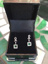 White 14K Gold Emerald & Diamond Square Pave Dangle Screw Back Post Earrings NEW