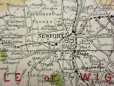 1920 COUNTY MAP HAMPSHIRE SOUTH SHEET ISLE OF WIGHT FAREHAM PORTSMOUTH RAILWAYS