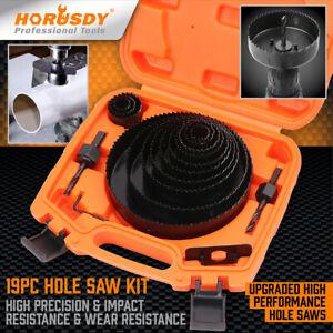"""19PC Hole Saw Kit Drill Bit Set 6""""(152mm) - 3/4"""" (19mm) 13Pc Saw Blades Wood PVC"""