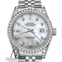 Ladies Rolex 31mm Datejust White Mother of Pearl Dial with 8+2 Diamond Accent