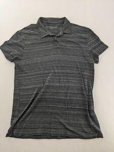 John Varvatos USA Men's Black Cotton Polo Shirt Size Large Star Short Sleeve