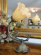 Wandlampe Jugendstil Wandleuchte Antik Messing Lampe Floral Glas Art déco Edel