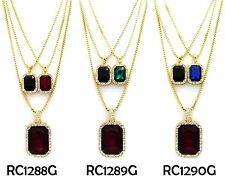 """Hip Hop Micro Black,Blue,Red,Green Pendant 2mm 24"""", 30"""" Box Chain 3 Necklace Set"""
