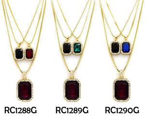 "Hip Hop Micro Black,Blue,Red,Green Pendant 2mm 24"", 30"" Box Chain 3 Necklace Set"